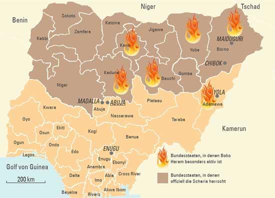 Nigéria térképe az iszlámista tűzfészkekkel