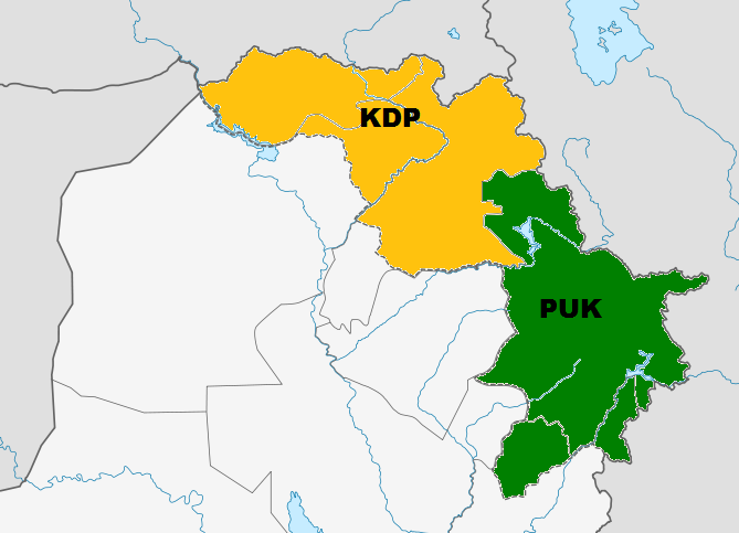 KDP_and_PUK_controlled_areas_of_Kurdistan