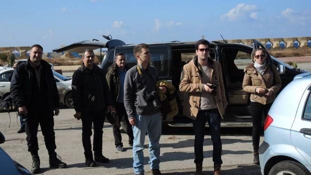 A csapat érkezése a Tartúszi Régészeti Igazgatósághoz