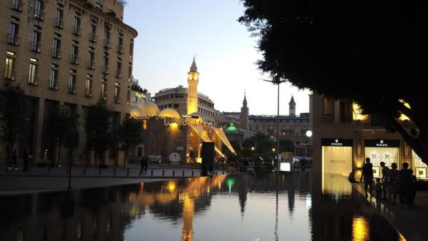 Bejrúti városkép esti séta közben
