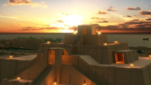 Ur zikkuratjának rekonstrukciós elképzelései - a város az ókorban még közvetlenül a tenger partján volt