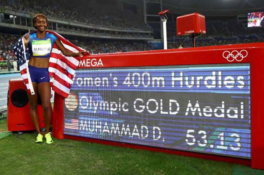 Dalilah Muhammad, Egyesült Államok, atlétika (arany).  A New York-i (Queens) sportolónő 400 méteres gátfutást nyerte meg Rióban