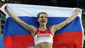 ISTANBUL, TURKEY - MARCH 11:  Elena Isinbaeva of Russia celebrates as she wins gold in the Women?s Pole Vault Final during day three of the 14th IAAF World Indoor Championships at the Atakoy Athletics Arena on March 11, 2012 in Istanbul, Turkey.  (Photo by Ian Walton/Getty Images)