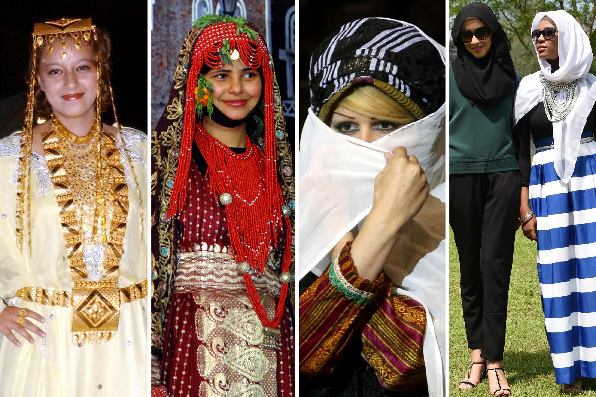 Balról jobbra: 1. A katari ruhatár egy ékes darabja 2. Pompás jemeni népviselet 3. Szőke fürtök a szíriai viselet alatt 4. A modern divat az iszlámot is elérte Europress/AFP