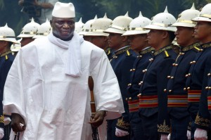 epa000462165 President of the Republic of Gambia Alhaji Dr. Yahya A.J.J. Jammeh passes honor guard after his arrival inside the Malacanang Palace in Manila, Tuesday 21 June 2005. Gambia President assures the Philippines that it will support the country's bid for observer status in the Organization of Islamic Conference when it convenes in Yemen for its regular ministerial meeting next week, the Department of Foreign Affairs (DFA) said Monday.  EPA/MIKE ALQUINTO
