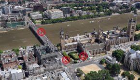 Az 1-es pontnál hajtott a gyaloglók közé, a 2-es pontnál ütközött a parlament kerítésének, a 3-as pontnál lőtték le a támadót - kattintás a galériáért Forrás: Google Earth