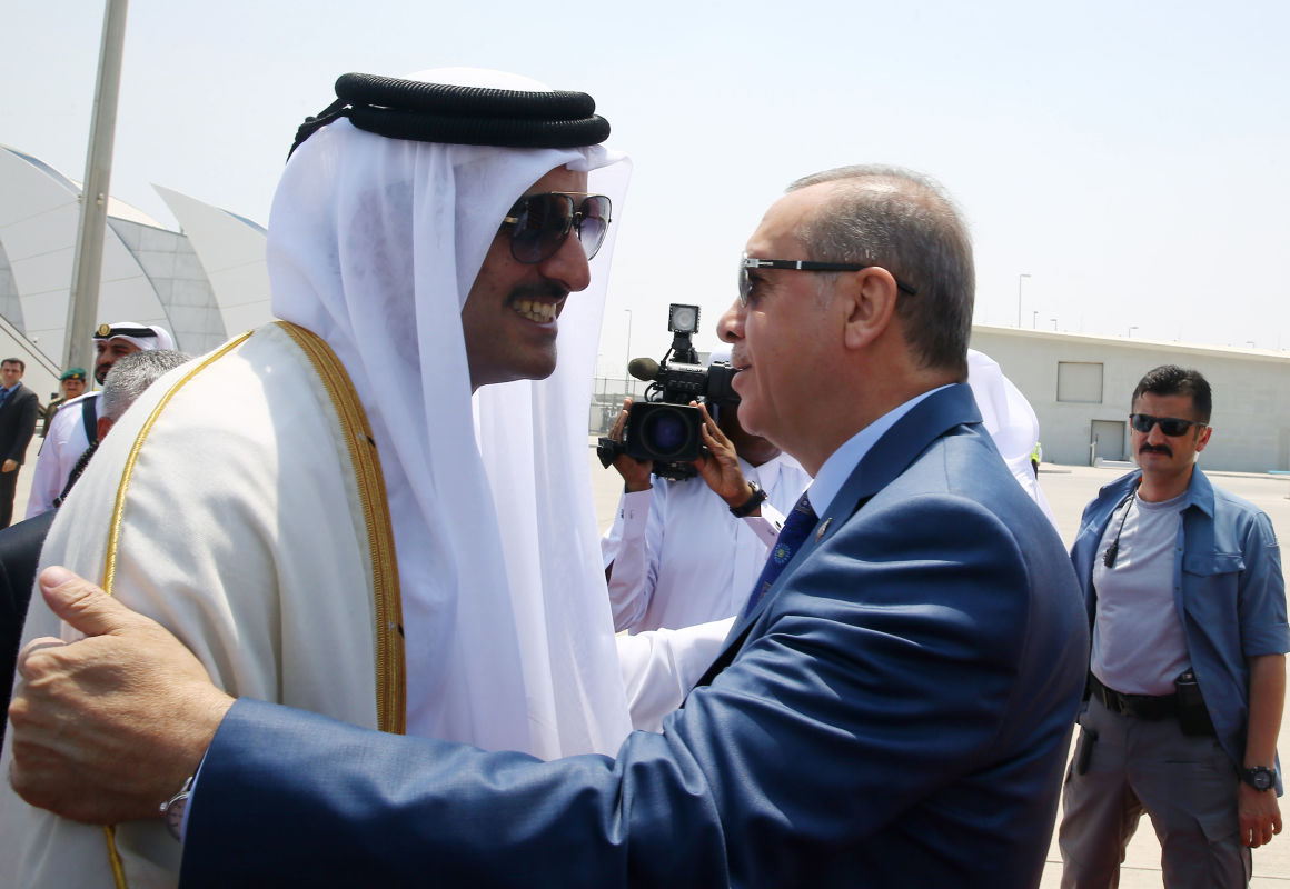 A katari emír és Erdogan török elnök.Fotó: HANDOUT/AFP