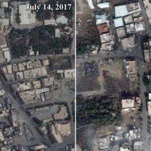 A Muszavarában dúló harcokról tanúskodó műholdfelvételek a várost 2017 júliusában és februárjában mutatják