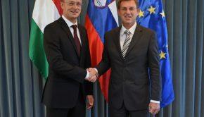 Fotó: KKM Szijjártó Péter külgazdasági és külügyminiszter Miro Cerar szlovén miniszterelnökkel.