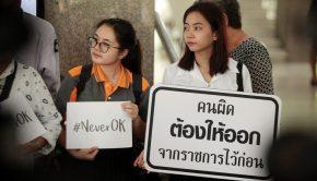 Diákok tüntetnek a nők bántalamzása ellen Thaiföldön Forrás: AFP
